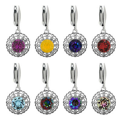 Sterling Silver Circle Earrings Hooks made with 1088 Chaton Swarovski® Crystals