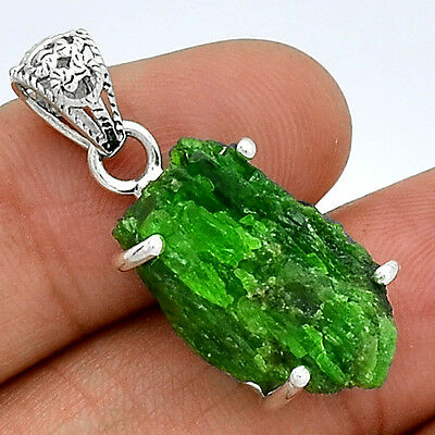 Emerald Rough 925 Sterling Silver Pendant  Jewelry PP39948