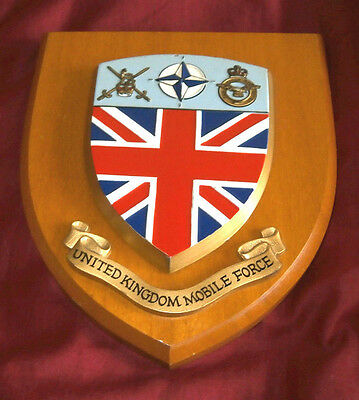 UNITED KINGDOM MOBILE FORCE. SHIELD ON WOODEN PLAQUE. Fine Condition.