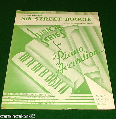 8th STREET BOOGIE for Piano Accordion, Vintage Sheet Music © 1946