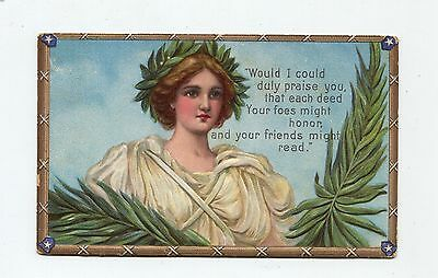 classical woman unsigned Frances Brundage Decoration Day postcard by Gabriel Co