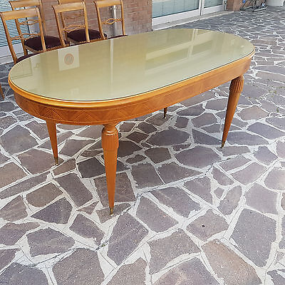 Elegant Table Italian Production Walnut Venered Maple Inlaid Paolo Buffa Style