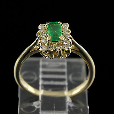 Estate 1/2 Ct Green Emerald With Diamond 14K Solid Yellow Gold Antique Ring