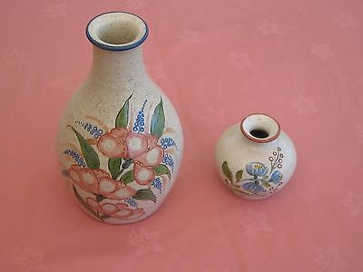 2 Purbeck Pottery Floral Decorative Vases.
