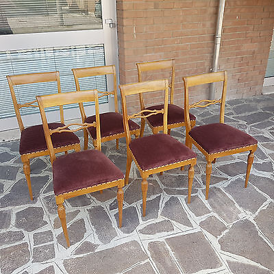 Group Of 6 Chairs Solid Walnut Italian Production From 1950 Palo Buffa Style