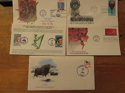 USA 1980s   First Day Of Issue Covers Lot 5 pieces