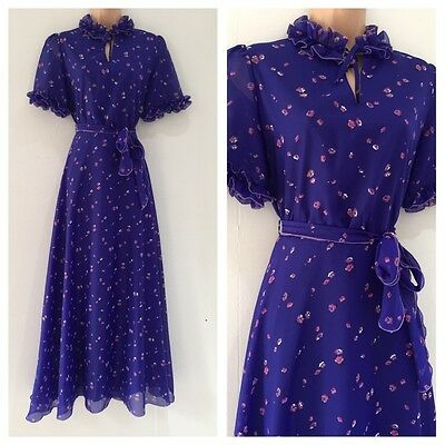Vintage 70's Purple & Pink Floral Print Belted Boho Prairie Maxi Dress Size 10