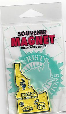 """IDAHO  """"THE GEM STATE """"  ID    OUTLINE MAP MAGNET in Souvenir Bag, NEW"""