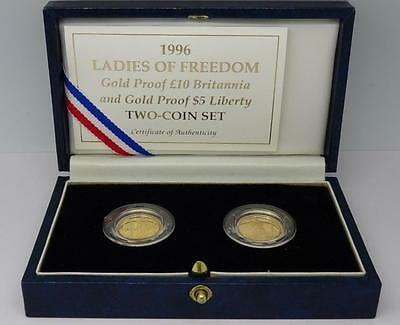 1996 1/10 oz Britannia & 1/10 oz American Eagle Ladies of Freedom Gold Proof Set