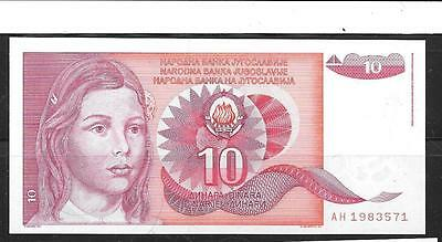 Yugoslavia #103 Unc Mint 10 Dinara Old Banknote Paper Money Currency Bill Note