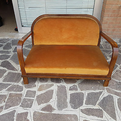 Nice Sofa Original Art Deco From 1940  Burl Walnut Venered