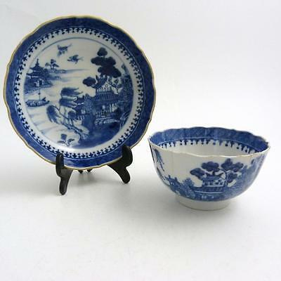 Chinese Blue And White Porcelain Bowl And Saucer 18Th Century