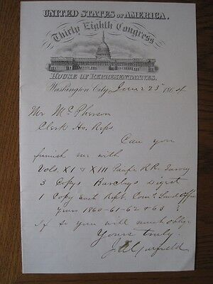 James A.Garfield Hand Written Letter Signed House of Representatives 1864