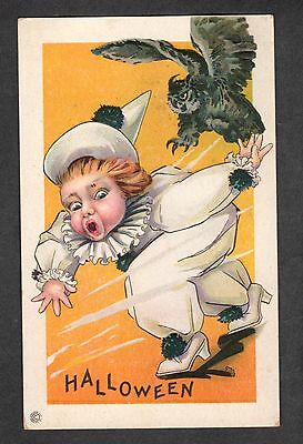 B176 postcard Halloween owl chase boy in clown costume stetcher 408A