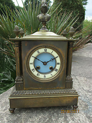 """French Brass 8 day Stiking clock, by """" S. Marti """"  circa 1890s."""