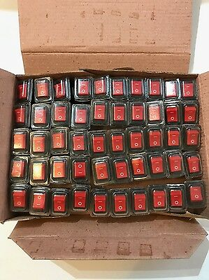 50 x Mains Snap-In Mini Rocker Switch 12A 250V 4PIN DP inc Water/Dust Cover