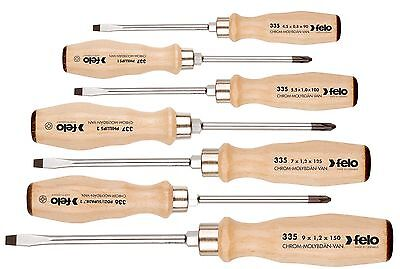 Felo 335 971 98 Screwdriver Set Slotted/Phillips/PoziDriv with Beech Handles