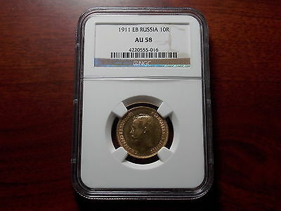 1911 Russia 10 Rouble Gold coin NGC AU-58 Scarce date