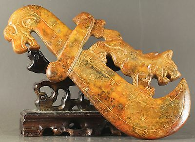 Old Chinese natural jade hand-carved dragon sword statue 6.5 inch