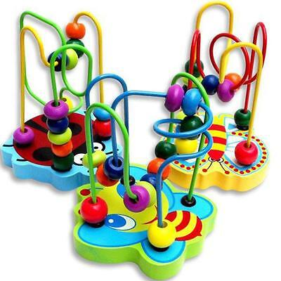 Children Kids Baby Hot Colorful Wooden Mini Around Beads Educational Game Toy 1