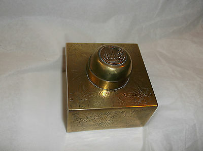 Antique Chinese Brass Hinged Inkwell with SHIP lotus flower design