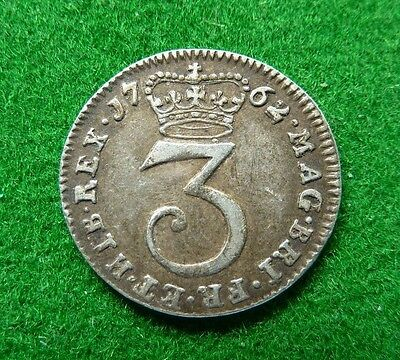 1762 George Iii Maundy Threepence - Vf