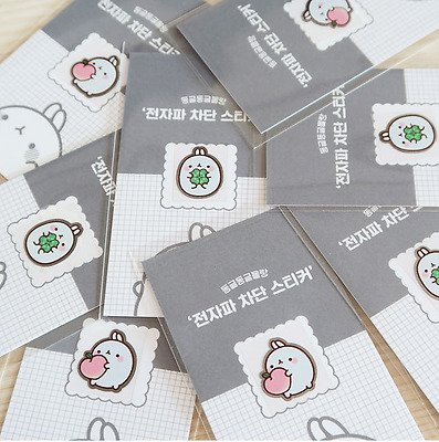 Molang Anti-Radiation Cute Plate Sticker 2EA for Mobile Phone Camera Computer PC
