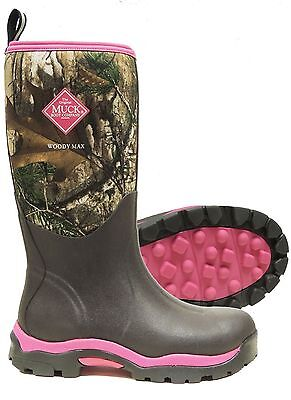 2017 The Original Muck Boot Company Women's WOODY MAX PINK/REALTREE CAMO Size 6