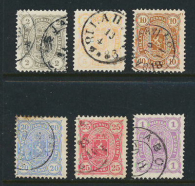FINLAND 1881-3 PERF 12½ SET, VF USED Sc#25-30