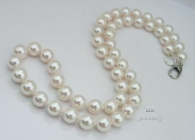 """HS Japanese Akoya Cultured Pearl 8mm Necklace 18"""" 18K White Gold AAA Grading"""