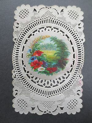 Antique Greetings Card  Paper Lace Floral Scrap Applied Victorian Chromo Litho