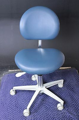"Brewer Doctor Dental Stool in Blue Vinyl Upholstery w/ 18""-24"" Height Range"