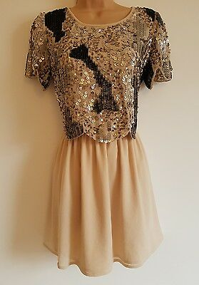 RIVER ISLAND Pretty Ladies Sequinned Top Party Dress, UK Size 8
