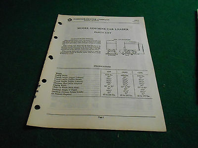 Gardner-Denver MINE CAR LOADER Model GD9 PARTS LIST
