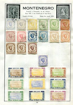 MONTENEGRO Early M&U COLLECTION on pages 100+ Stamps