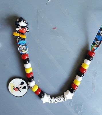 ***mickey Mouse*** Personalised Dummy Clip, *free Mam Ring* L@@k!!