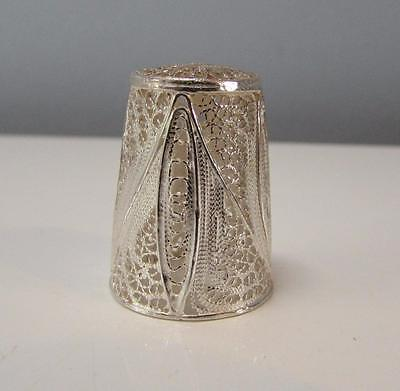 Excellent Solid Silver Filigree Portuguese Vintage Thimble- Hallmarked 925