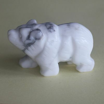 h33974  41mm Hand carved white turquoise bear  figurine