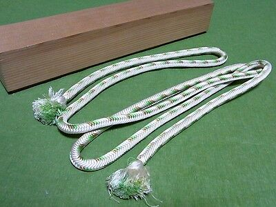 Japanese Vintage Silk Obi-jime Kumihimo Braid Cord Gold,Green,White w Wooden Box
