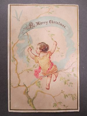 Antique CHRISTMAS Greetings Card Baby in Tree Dragonfly Victorian Chromo Litho
