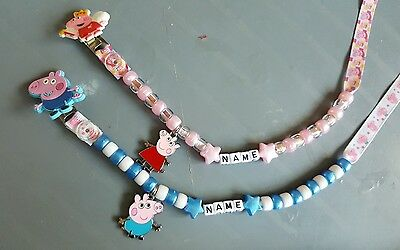 *peppa Or George Pig* Personalised Dummy Clips, *free Mam Ring*  L@@k!