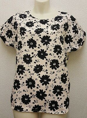 Ladies Cream & Black Floral Short Sleeved Top Size 10.