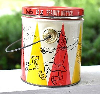 Vintage Peanut Butter Tin Can Swift's OZ PEANUT BUTTER Pale Advertising Can