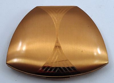 1950s Elgin American Goldtone Makeup Powder Compact w/ Mirror Art Deco Clamshell