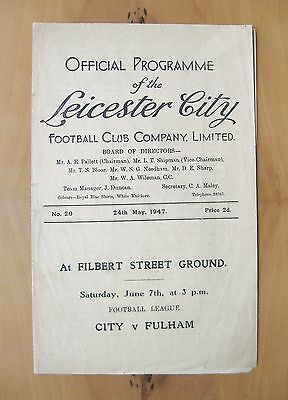 LEICESTER CITY v BURNLEY 1946/1947 *Good Condition Football Programme*