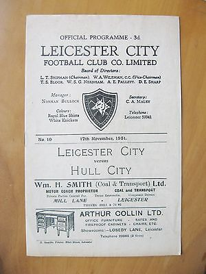 LEICESTER CITY v HULL CITY 1951/1952 *Excellent Condition Football Programme*