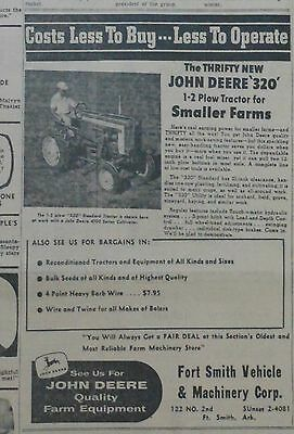 1958 newspaper ad for John Deere - 320 1-2 Plow Tractor for smaller farms