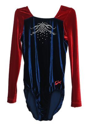 AXS Adult Extra Small 3781 GK Elite Jeweled Red Velvet Gymnastics Leotard