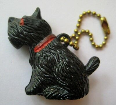VINTAGE Plastic Movable Black SCOTTIE DOG Keychain Charm Mouth OPENS!