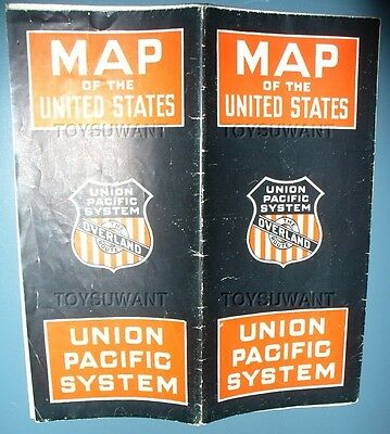 Overland Route Union Pacific System Map Of United States Train Railroad 1927 Usa